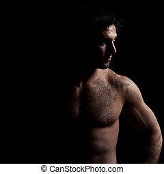 Sexy toploses, hübsches Männerporträt.
