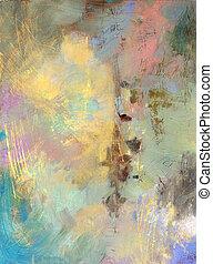 Sgraffito mit Ölfarben und Acryl