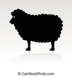 Sheep Black Vektor Silhouette