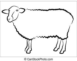 Sheep Silhouette isoliert auf weiß.
