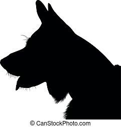 shepherd., hund, deutsch, vector., schafhirte, silhouette, porträt
