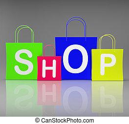 Shop-Taschen zeigen Einkaufs-und Kauf.