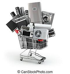 shoppen, concept., e-commerz, cart., haushaltsgerã¤te, online, daheim, oder