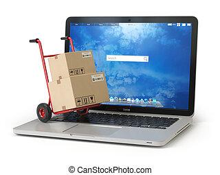 shoppen, concept., hand, auslieferung, pc, kästen, lastwagen, e-commerz, online, keyboard., pappe, laptop