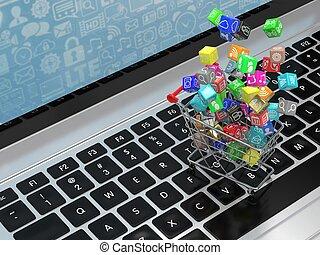 shoppen, heiligenbilder, rendering., laptop., karren, anwendung, software, 3d
