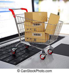 shoppen, laptop., karren, kästen, e-commerce., pappe, 3d
