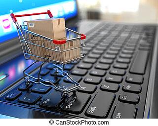 shoppen, laptop., karren, kästen, e-commerce., pappe