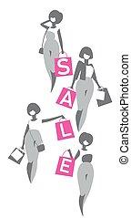 shoppen, mädels, säcke