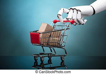 shoppen, roboter, karren, kästen, besitz, pappe