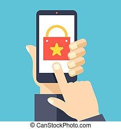 Shopping App auf Smartphone-Bildschirm