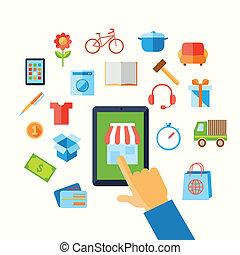 Shopping E-Commerce Hand Konzept.