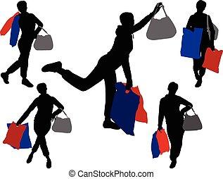 Shopping-Mädchen 2 - Vektor.