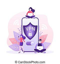 sicherheit, vernetzung, sicher, overview., concept., vpn, design., anschluss, daten, begriff, privat, technologie, konnektivität, internet, 3d, ikone, virtuell, secure.