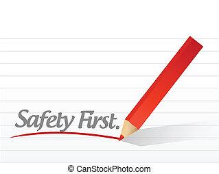 Sicherheit zuerst auf einem weißen Stück Papier geschrieben