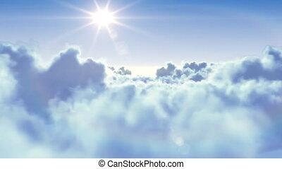 Sie fliegen mit der Sonne über die Wolken