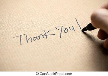 sie, hand schreiben, danken, merkzettel