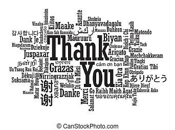 sie, mehrsprachig, wort, danken, wolke