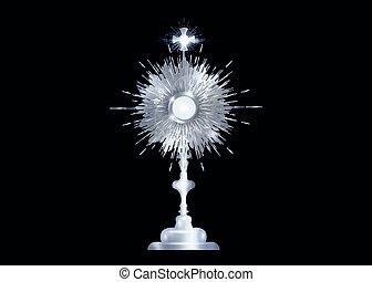 silber, zeremonie, gesegnet, freigestellt, vektor, römisches , anglikanisch, altes , angezeigt, hintergrund, traditions., katholik, schwarz, monstranz, katholik, host., segnung, eucharistic, gebraucht, sakrament, ostensorium