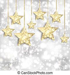 Silberer Hintergrund mit goldenen Sternen und funkelnden Lichtern