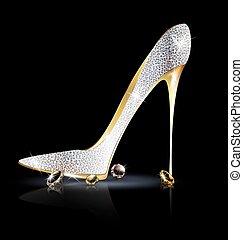 Silberfarbener Schuh mit Kristallen.