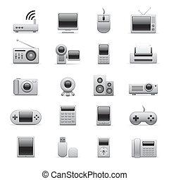 Silberne elektronische Ikonen