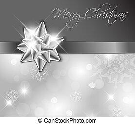 Silberne Schleife mit Bogen - Weihnachtskarte