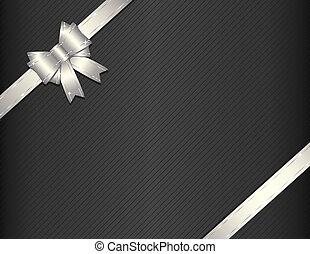 Silbernes Geschenkband mit Geschenkpapier