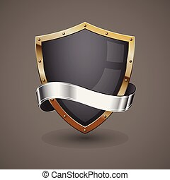 Silbernes goldenes Schild.