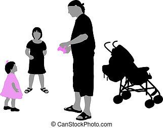 Silhoette von Kindern