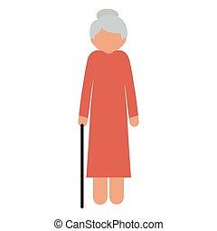 Silhouette ältere Frau mit einem Stock ohne Gesicht.