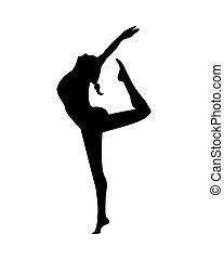 silhouette, üben, sport, tanz, athletische, frau