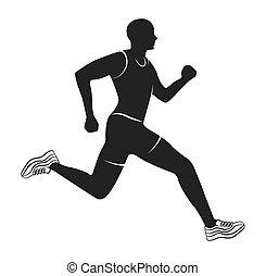 Silhouette-Athlet mit isoliertem Icon.