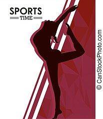 silhouette, athletische, üben, frau, tanz, sport