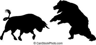 silhouette, bär, gegen, stier