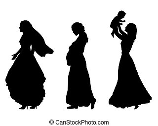 silhouette, braut, frauen, mutterschaft, schwangerschaft