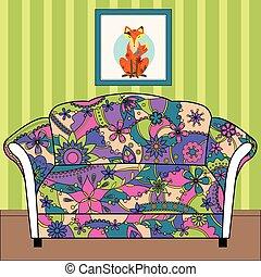 silhouette, bunte, gemalt, couch, inneneinrichtung, karikatur