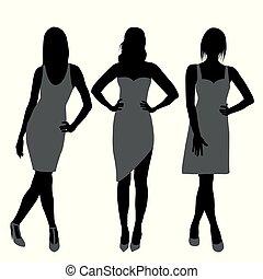 Silhouette der Modemädchen Top-Modelle.