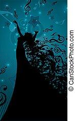Silhouette der Opernsängerin mit Haaren wie musikalische Noten