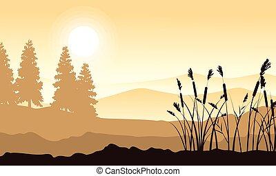 Silhouette des Berges mit Graslandschaft.