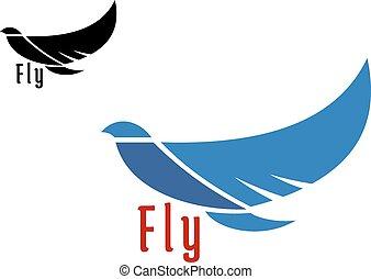 Silhouette des fliegenden blauen Vogels