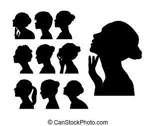 Silhouette des Frauenprofils mit lockigen Haaren.