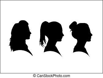 Silhouette des Mädchens im Profil.