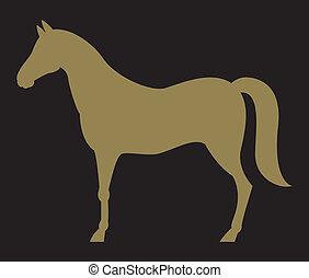 Silhouette des Pferdes.
