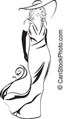 Silhouette einer eleganten Frau