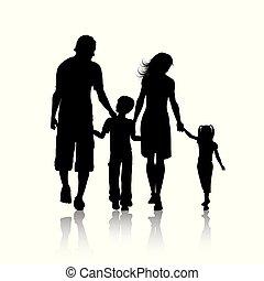 Silhouette einer Familie.