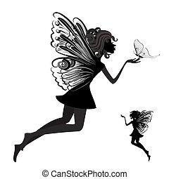 Silhouette einer Fee mit Schmetterling