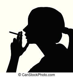 Silhouette einer Frau, die raucht