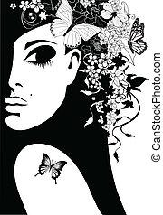 Silhouette einer Frau mit Blumen und Schmetterlingen, Vektorgrafik.