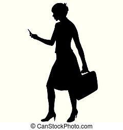 Silhouette einer Geschäftsfrau.