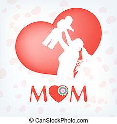 Silhouette einer Mutter und ihrem Kind. EPS 10